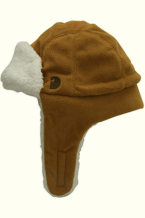 Carhartt brown winter cap for baby boy with ear flaps