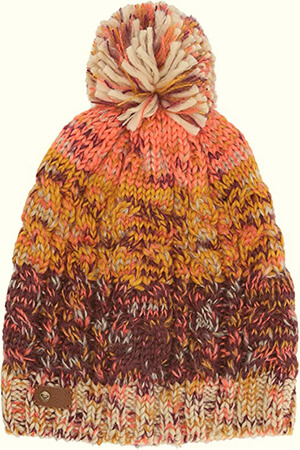 Colorful braids knit fleece-lined beanie women with pom pom
