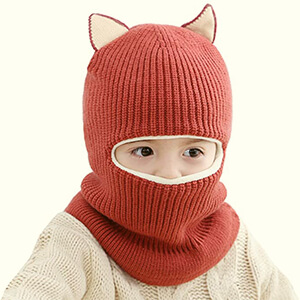 Dark red toddler's balaclava with cat ears