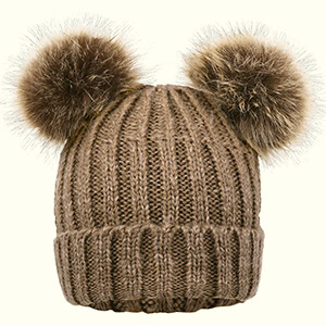 Khaki brown double pom poms beanie