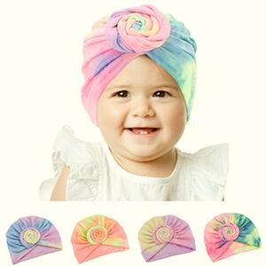Purple-blue turban baby girl's beanie hat