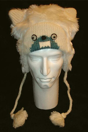 Animal costume with ear flaps Yeti beanie