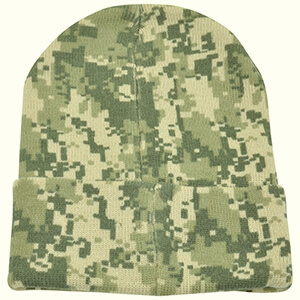 Black folded part and pom pom camouflage beanie