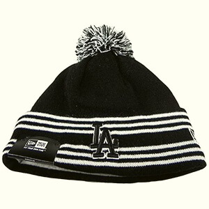 Black LA Dodgers beanie with white thin stripes