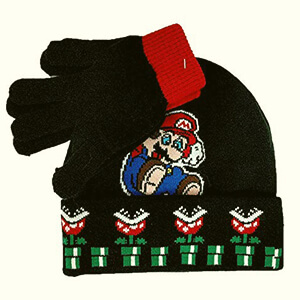 Black Super Mario beanie for kids