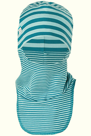 Blue and white stripes organic kid's balaclava