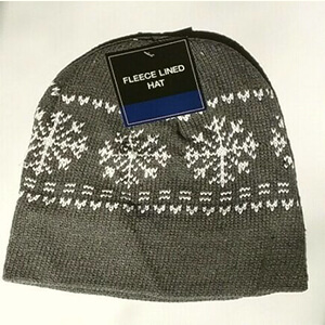 Gray fleece-lined beanie for men with snowflakes