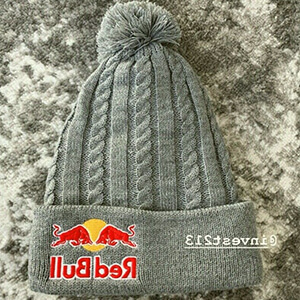 Light gray cable knit Red Bull beanie