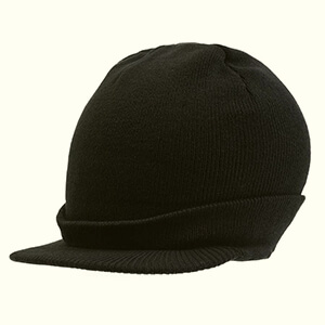 Mens Black beanie with bill