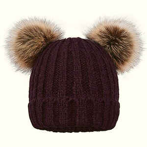 Purple double fur pom poms beanie with brown pom poms