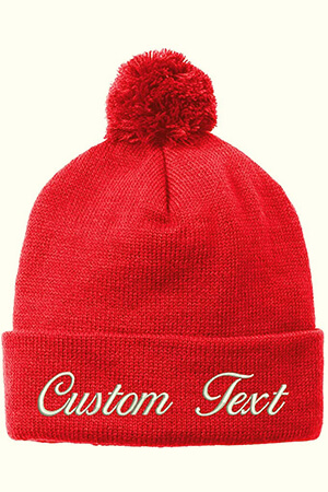 Red knit custom beanie with pom with the folded part