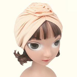 Beige boho infant girl's beanie turban