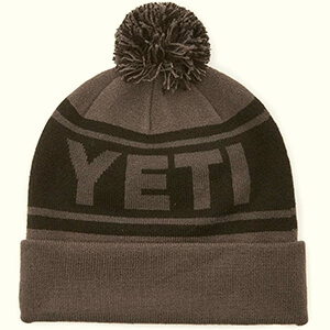 Black and Gray Yeti beanie with pom pom