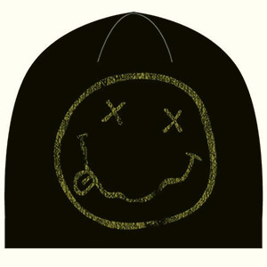 Black with smiley face Nirvana beanie
