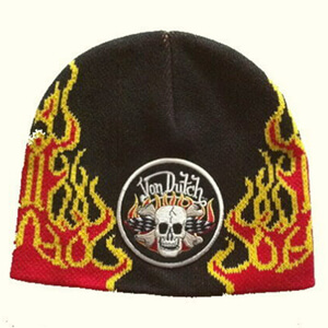 Fire Von Dutch beanie with skull