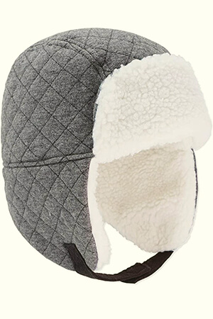 Gray-white fleeced infant boy's beanie with ear flaps