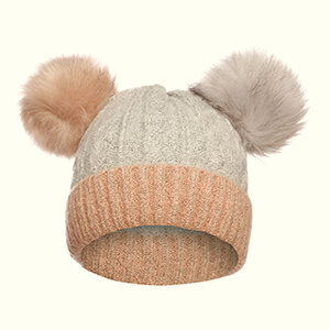Light gray- light pink women's double pom poms beanie