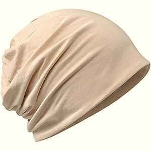 Organic cotton beige thin beanie hat for summer