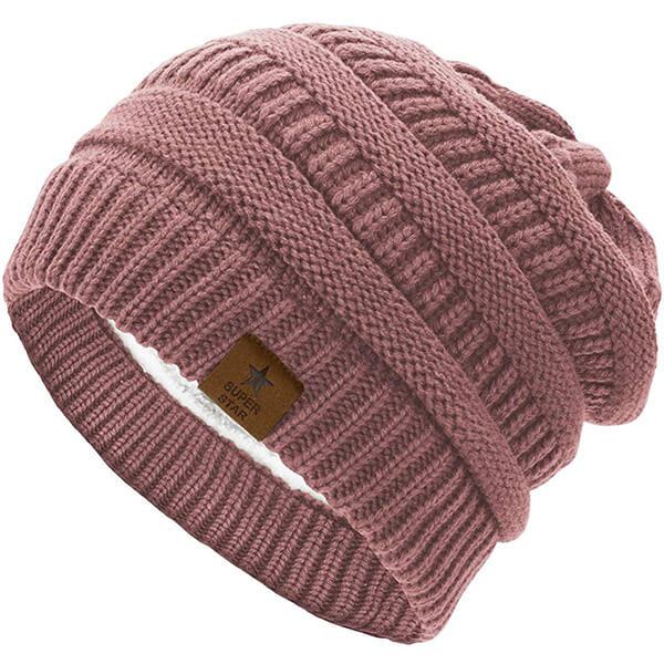 Thick Solid Fleece Lined Beanie Hat