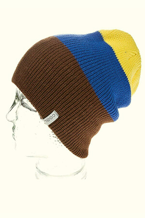 Three wide stripes slouchy Coal beanie