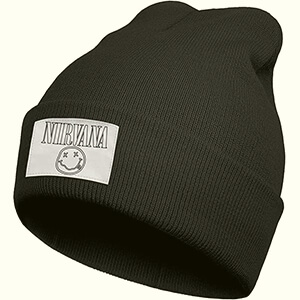Black Nirvana beanie with white label