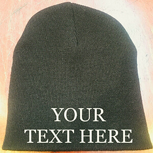 Black personalized beanie without folded part