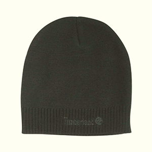 Black Timberland beanie with embroidered letters