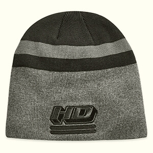 Embroidered stripe knit Harley-Davidson beanie