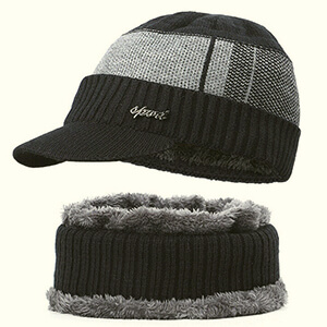 Fleece-lined beanie with wide stripe and bill