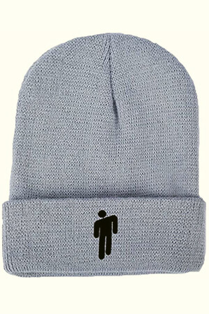 Folded gray beanie Billie with blohsh embroidered with black threads