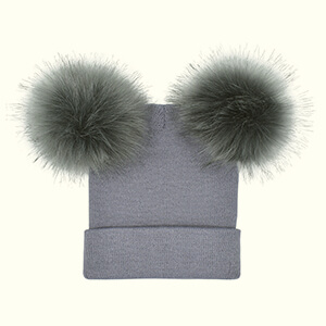 Gray two pom poms beanie