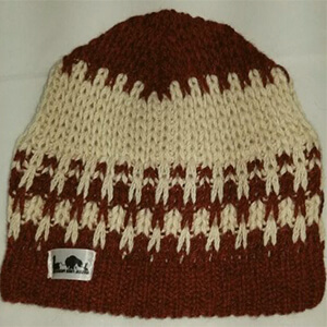 Natural burgundy and cream fiber Yeti beanie