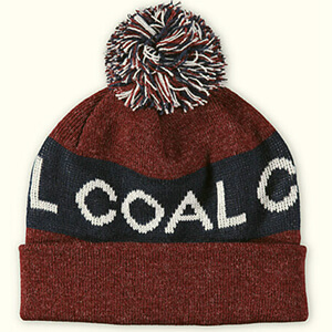 Striped Coal beanie with large script