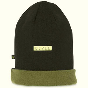 Black and green reversible Eevee beanie for adults