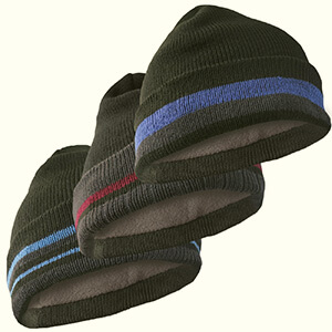 Black fleece-lined beanie with stripes on the cuff