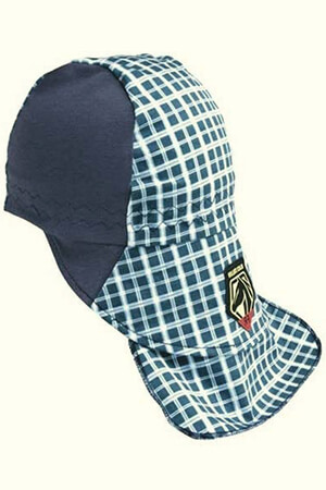 Blue-white plaid welding beanie cap