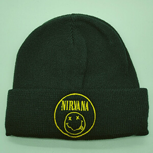 Circled yellow logo Nirvana beanie