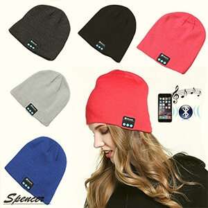 Close-fitting cuffless beanie with headphones