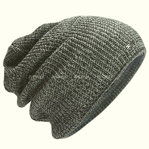 Gray without folded part oversized beanie with a metal detail and fleece lining