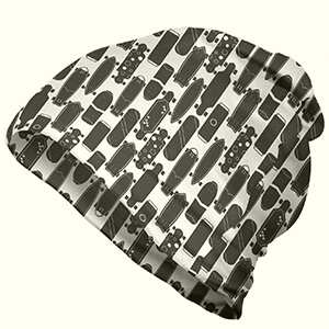 Grey and white skateboard pattern skater beanie