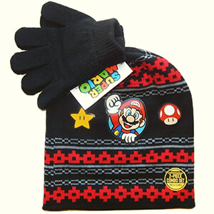 Super Mario beanie with mushroom and gold star for kids