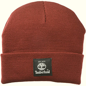 Syrah colored Timberland beanie with black tree patch