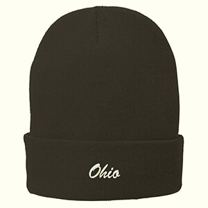 Trendy black Ohio state beanie hat