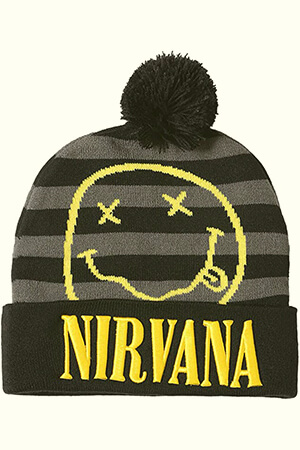 Black and gray stripes Nirvana beanie with pom pom