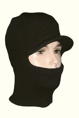 Black knit balaclava mask with bill