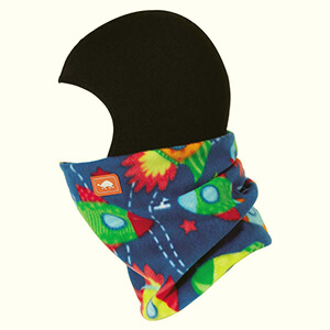 Black-blue toddler's balaclava with space rockets