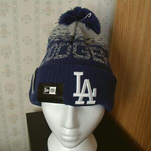 Blue digital fade LA Dodgers beanie with pom pom