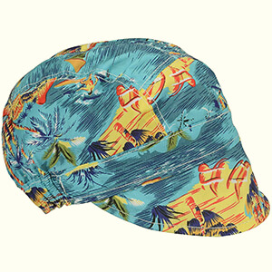 Blue-yellow beach print welding beanie