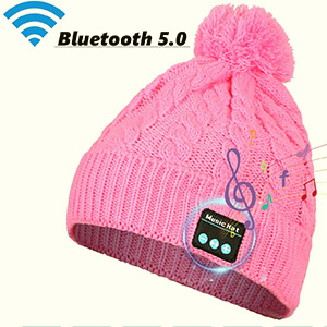 Braid knit pattern beanies with built-in headphones and pom pom