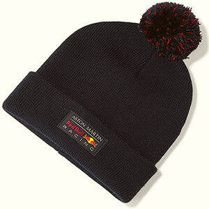 Casual Red Bull beanie with navy patch and pom
